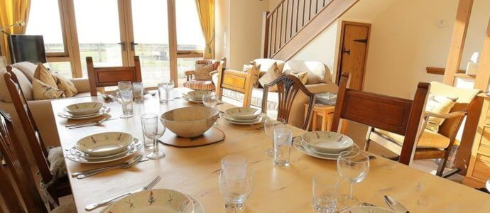 KJ Oxfordshire Barns dining, hen weekend cottage
