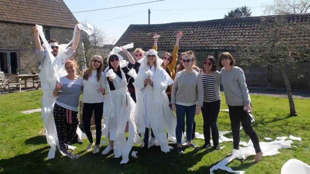 Wedding dress hen party games