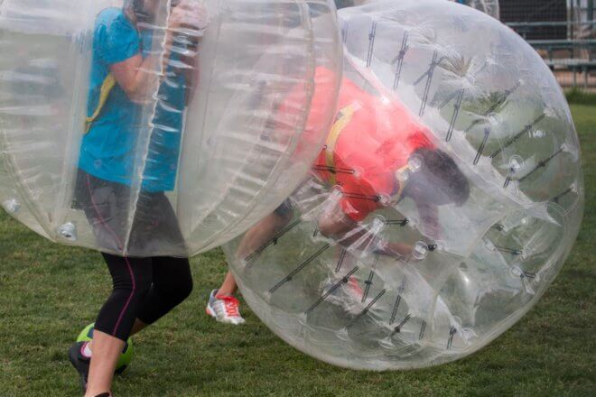 bubble football hen party activity